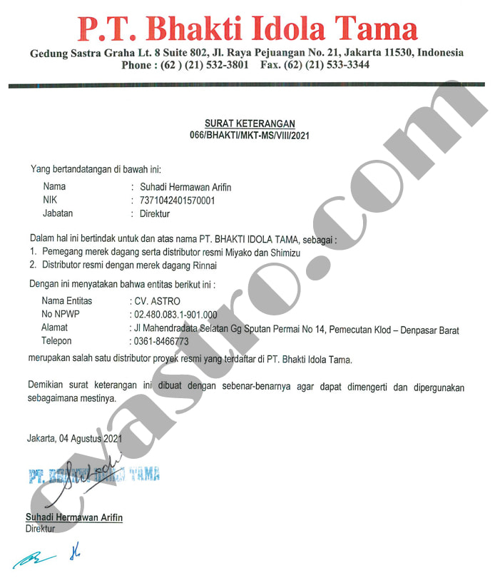 Distributor/Dealer Resmi Rinnai, Shimizu, & Miyako Indonesia